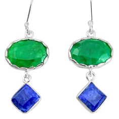 15.31cts natural green emerald sapphire 925 silver dangle earrings p34798