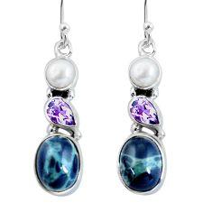 10.76cts natural green kambaba jasper (stromatolites) 925 silver earrings p57559