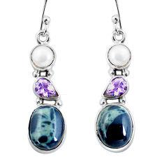 11.04cts natural green kambaba jasper (stromatolites) 925 silver earrings p57560