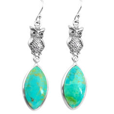 14.23cts natural green kingman turquoise 925 sterling silver owl earrings p72537