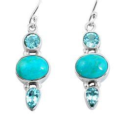 10.32cts natural green kingman turquoise topaz 925 silver dangle earrings p57439