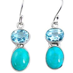 10.19cts natural green kingman turquoise topaz 925 silver dangle earrings p57443
