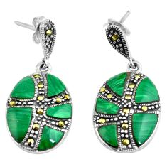 9.72cts natural green malachite (pilot's stone) 925 silver earrings c4614