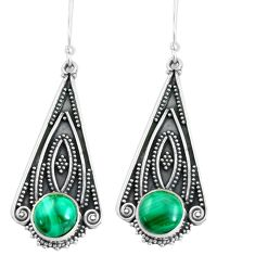 12.04cts natural green malachite (pilot's stone) 925 silver earrings d31538