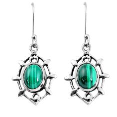 7.04cts natural green malachite (pilot's stone) 925 silver earrings p58113