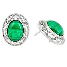 19.53cts natural green malachite (pilot's stone) 925 silver stud earrings c3961