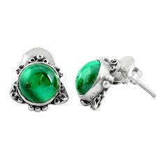 7.00cts natural green malachite (pilot's stone) 925 silver stud earrings p35582
