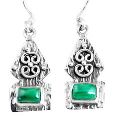 3.73cts natural green malachite (pilot's stone) silver dangle earrings d31665