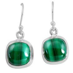12.06cts natural green malachite (pilot's stone) silver dangle earrings p89330