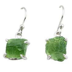 9.16cts natural green moldavite (genuine czech) 925 silver earrings p70982