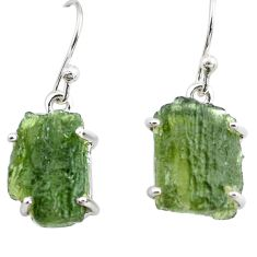 11.28cts natural green moldavite (genuine czech) 925 silver earrings p71003