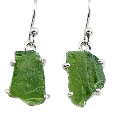 9.74cts natural green moldavite (genuine czech) 925 silver earrings p71018