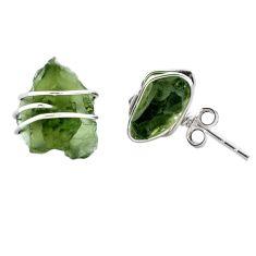 6.30cts natural green moldavite (genuine czech) 925 silver stud earrings p87249