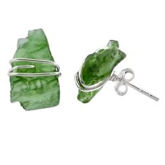 5.71cts natural green moldavite (genuine czech) 925 silver stud earrings p87265