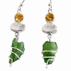 17.53cts natural green moldavite (genuine czech) silver 14k gold earrings p92731