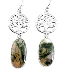 16.20cts natural green moss agate 925 silver tree of life earrings p91878