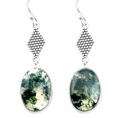 12.22cts natural green moss agate 925 sterling silver dangle earrings p72583