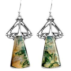 19.27cts natural green moss agate 925 sterling silver dangle earrings p72682