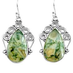 19.82cts natural green moss agate 925 sterling silver dangle earrings p72688