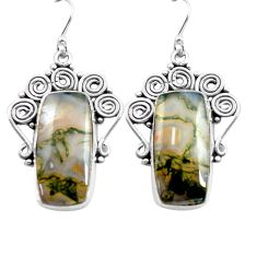 21.67cts natural green moss agate 925 sterling silver dangle earrings p72689