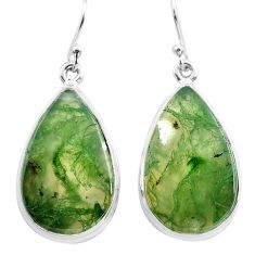 21.48cts natural green moss agate 925 sterling silver dangle earrings p72781