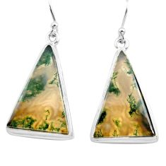 24.00cts natural green moss agate 925 sterling silver dangle earrings p72795