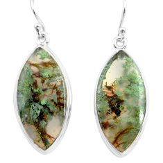 23.46cts natural green moss agate 925 sterling silver dangle earrings p72797