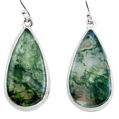 25.00cts natural green moss agate 925 sterling silver dangle earrings p88781