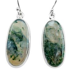 20.96cts natural green moss agate 925 sterling silver dangle earrings p88782