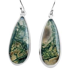 26.16cts natural green moss agate 925 sterling silver dangle earrings p88783