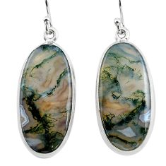 24.38cts natural green moss agate 925 sterling silver dangle earrings p88784