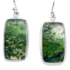 26.16cts natural green moss agate 925 sterling silver dangle earrings p88785