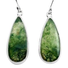 19.23cts natural green moss agate 925 sterling silver dangle earrings p88801