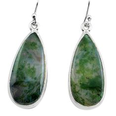 21.18cts natural green moss agate 925 sterling silver dangle earrings p88802