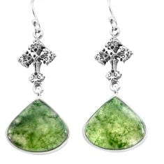 18.70cts natural green moss agate 925 sterling silver holy cross earrings p72581