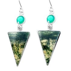 18.73cts natural green moss agate chalcedony 925 silver dangle earrings d31552
