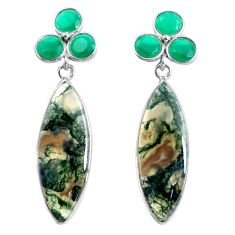 19.40cts natural green moss agate chalcedony 925 silver dangle earrings d31560