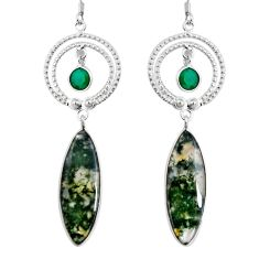 Clearance Sale- 20.65cts natural green moss agate chalcedony 925 silver dangle earrings d32372