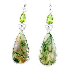 17.35cts natural green moss agate peridot 925 silver dangle earrings p78535