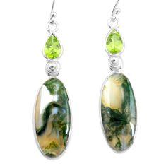 17.96cts natural green moss agate peridot 925 silver dangle earrings p78536