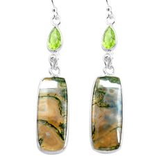 19.09cts natural green moss agate peridot 925 silver dangle earrings p78538