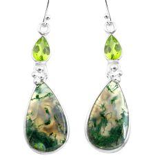 19.18cts natural green moss agate peridot 925 silver dangle earrings p78539