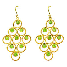 10.77cts natural green peridot 925 silver 14k gold dangle earrings p75441