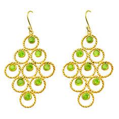 10.77cts natural green peridot 925 silver 14k gold dangle earrings p75445