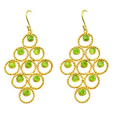 7.55cts natural green peridot 925 silver 14k gold dangle earrings p88518