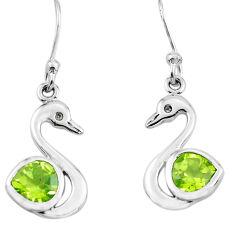 3.09cts natural green peridot 925 silver dangle duck charm earrings p62572