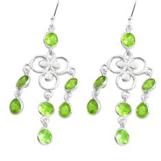 11.57cts natural green peridot 925 sterling silver chandelier earrings p43888