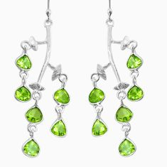 9.22cts natural green peridot 925 sterling silver dangle earrings jewelry p60708