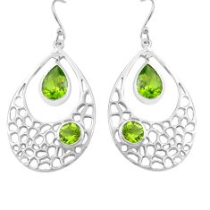 7.22cts natural green peridot 925 sterling silver dangle earrings jewelry p82137