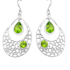 7.22cts natural green peridot 925 sterling silver dangle earrings jewelry p82138